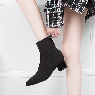 Women Pointed Elastic Middle Heel Knitted Boots