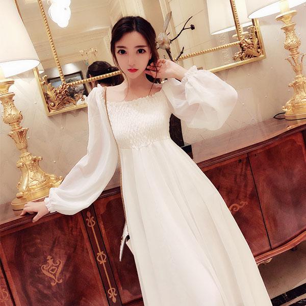 Women Clothing Super Fairy High Waist Slim Lantern Sleeve Chiffon Dress