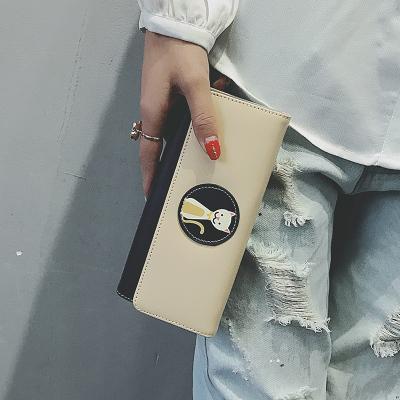 Women Korean Mixed Color Kitty Long Wallet