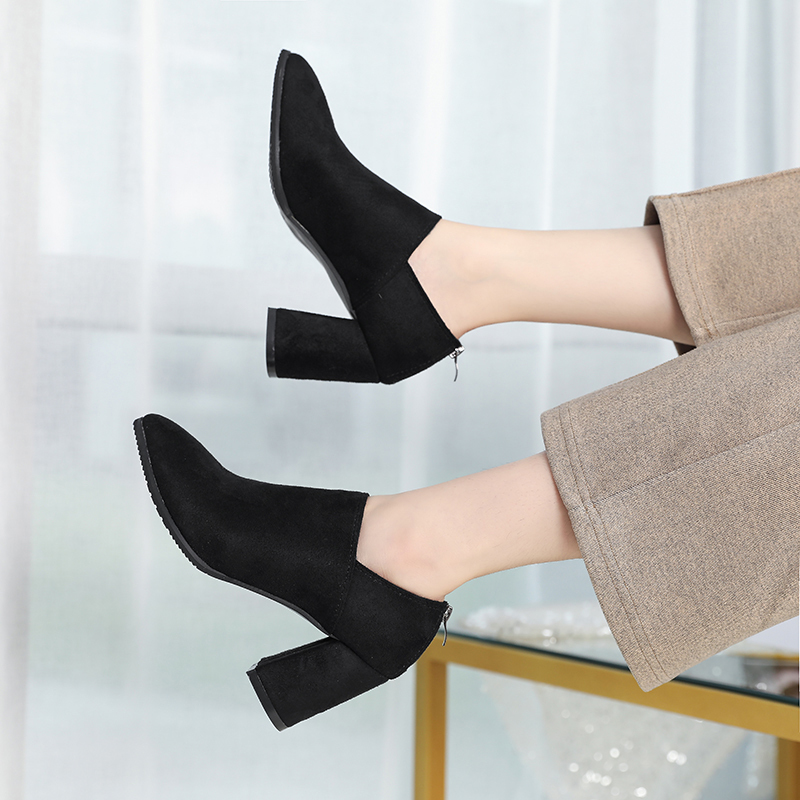 Women Side Zipper Suede Thick Pointed High-heeled Shoes