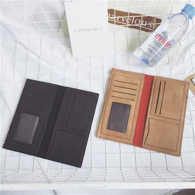 Men Korean Scrub Retro Long Wallet