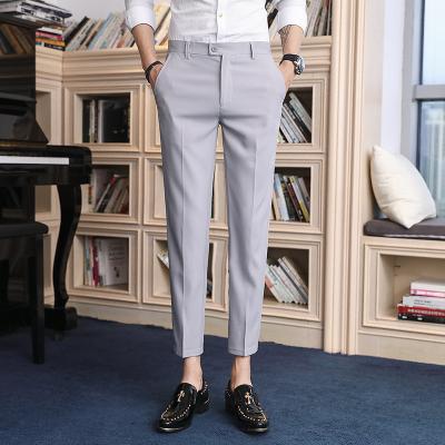 Men Clothing Nine Points Straight Loose Suit Pants