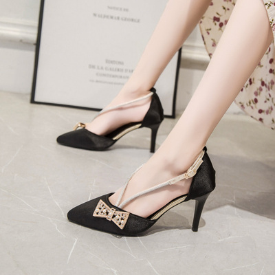 Women Pointed Toe New Rhinestone Bow High-heeled Shoes