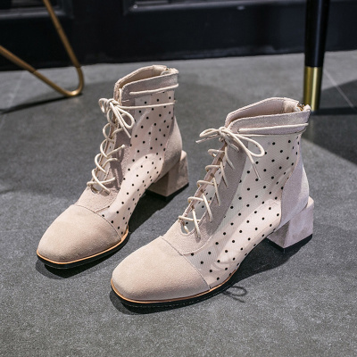 Women Polka Dot High-heeled Mesh Boots