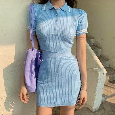 Women Clothing New Sexy V-neck Knitted top + High Waist Tight-fitting Two-piece Suit