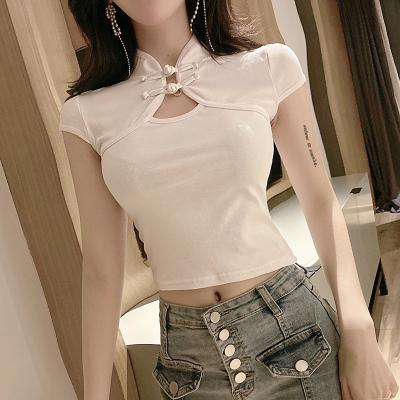 Women Clothing Cheongsam Retro Sexy Tight Short-sleeved Buckle Top Shirt