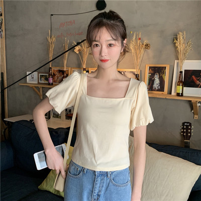 Women Loose Solid Color Simple Short-sleeved T-shirt