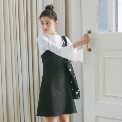 Women Korean Cute Retro Denim Strap Dress