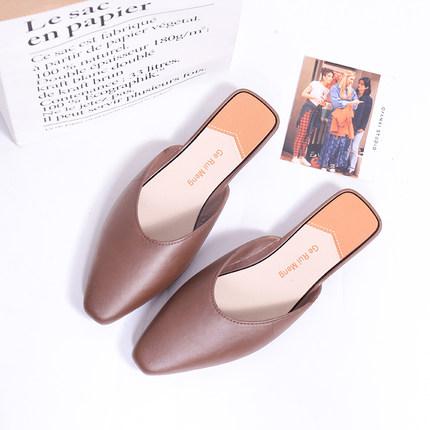 Women Summer Wear Flat Bottom Baotou Half Slippers