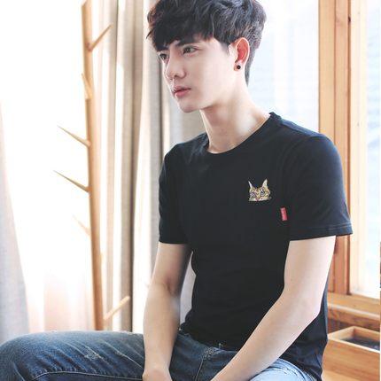Men Kitty Cat Pocket Short Sleeve T-Shirt