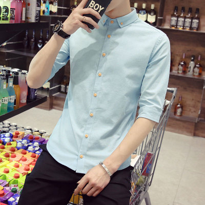 Men Linen Basic Short Sleeve Shirts