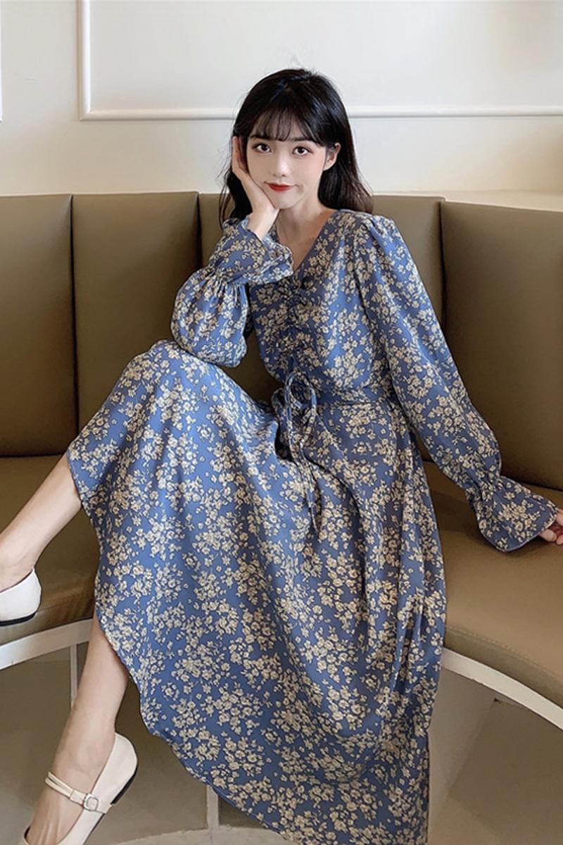 Women Clothing Long-sleeved Floral Skirt Dress