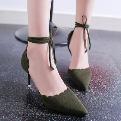 Women Wave Edge Pointed Suede Lace High Heels