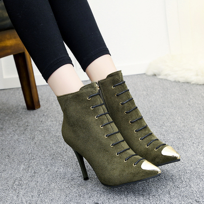 [READY STOCK] Women Pointed Head Lace High Heels Boots