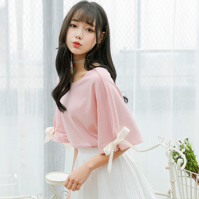 Women Pure Color Short Sleeve Ribbon T-shirt