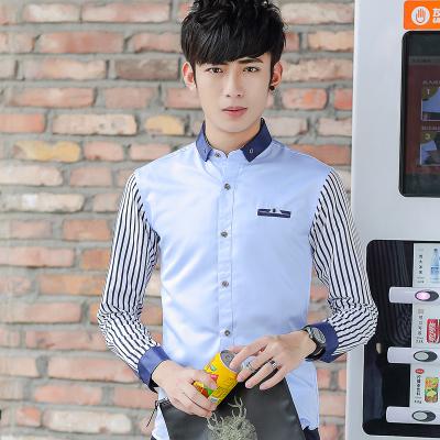 Men Business Working Stripes Long Sleeve Shirt