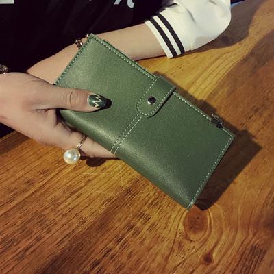 Women Retro Zipped Buckle Long Wallet