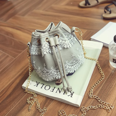 Women Japanese Lace Chain Bucket Sling Bag